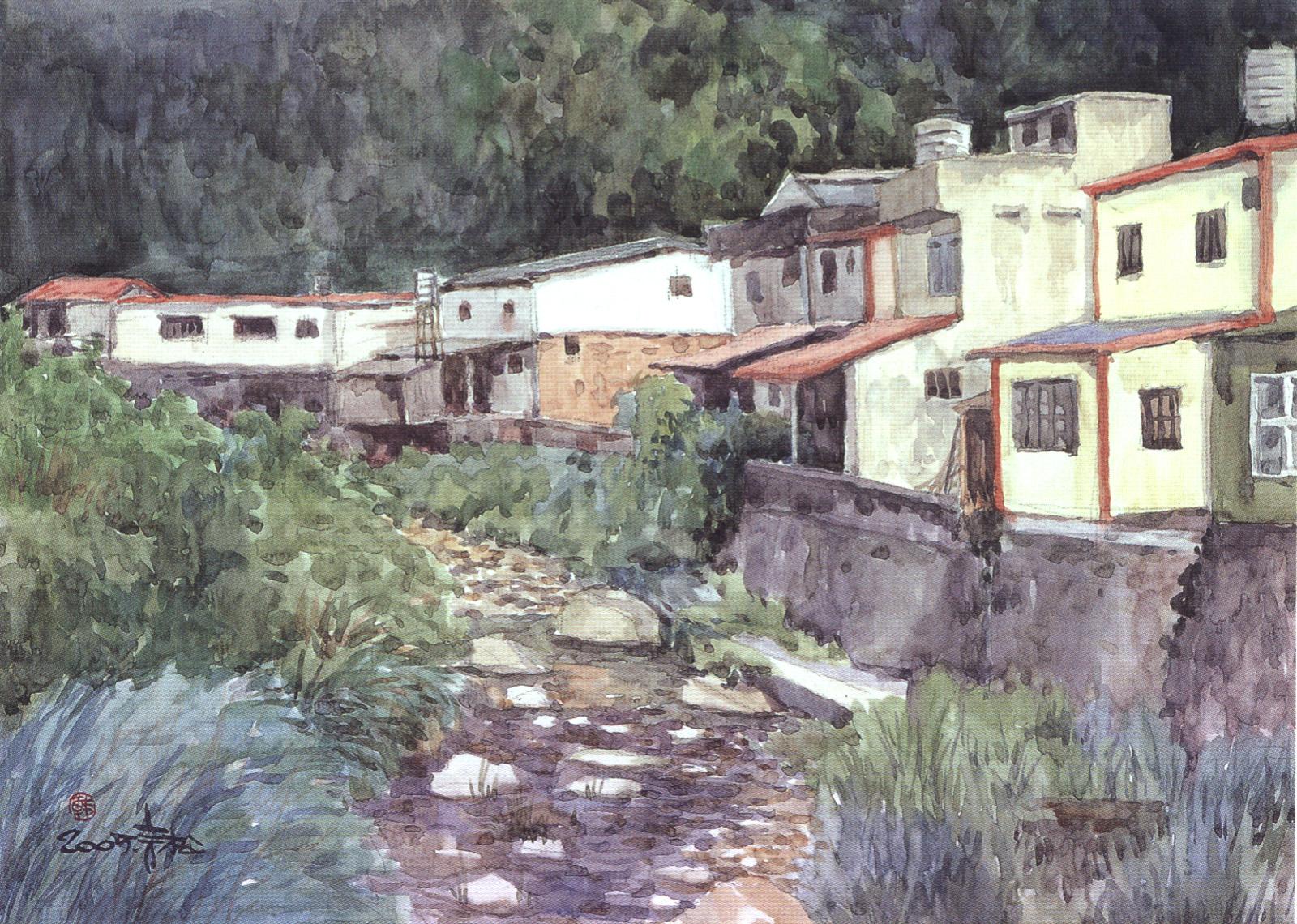 华裔街景风景油画