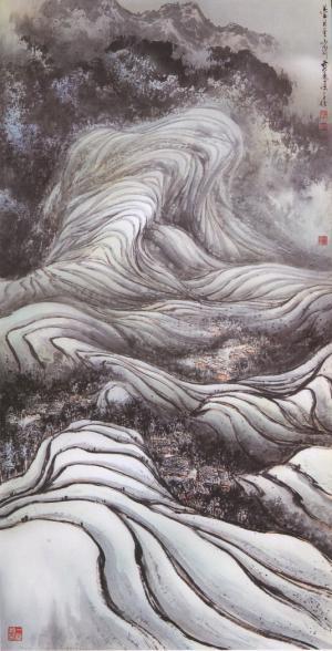作品名称:大地纹身-元阳/艺术家:黄庆源/[水墨]黄庆源1957年出生於
