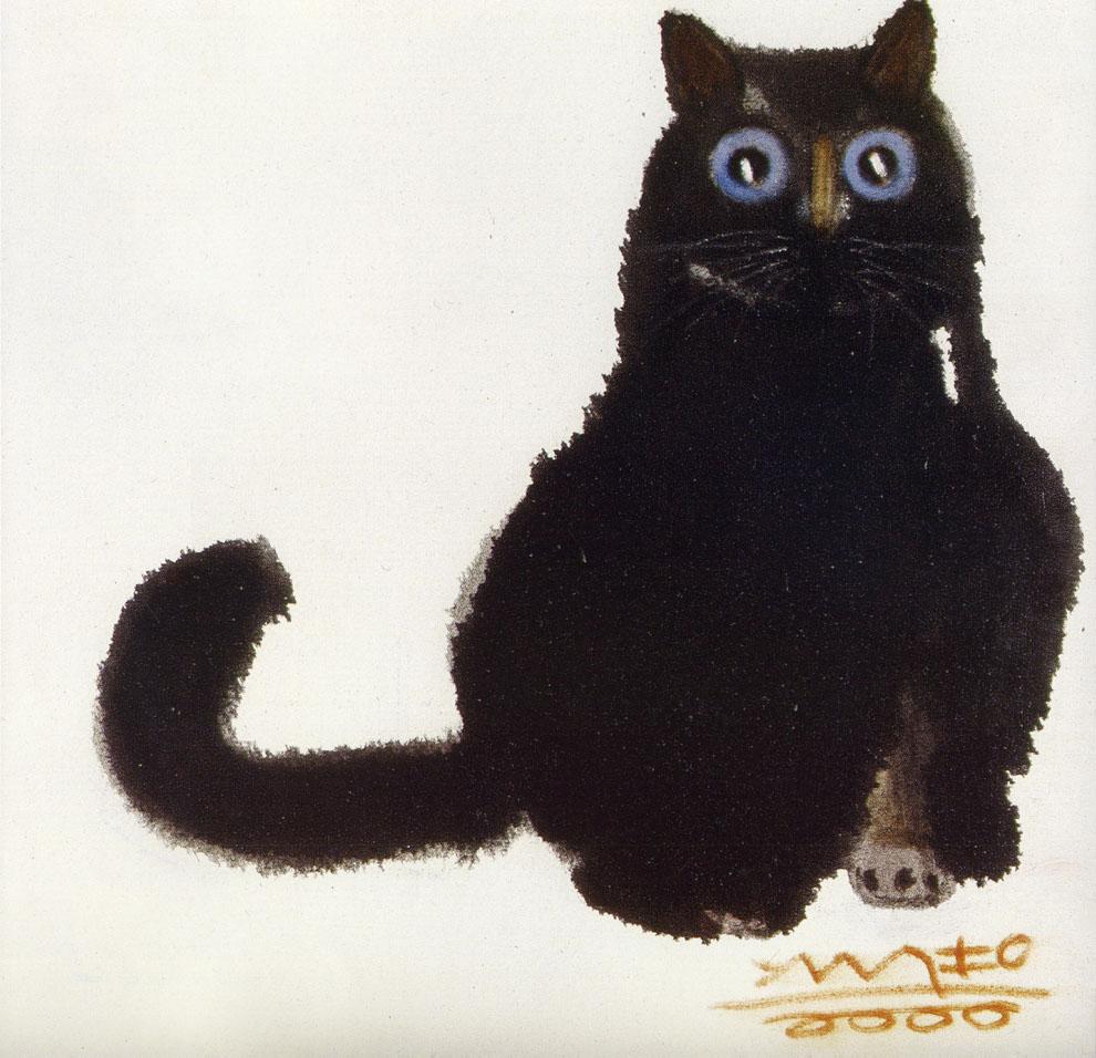 悲伤的动物黑猫